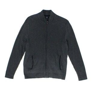 Alfani NEW Gray Mens Size Medium M Chevron Textured Full Zip Sweater