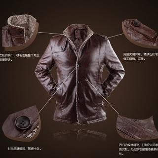 Link to New Men Leather Men's Leather Jacket Korean Slim Plus Velvet Winter Coat Similar Items in Men's Outerwear