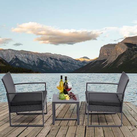Outdoo Patio Furniture 3 Pieces Patio Set Sets,Rattan Chair Sets
