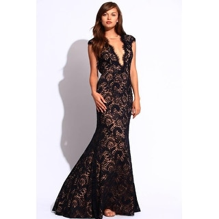 Plunging Lace Cap Sleeve Open Back