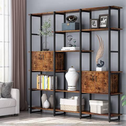 Triple Wide Bookcase, 5 Tier Bookshelf with 2 Storage Cabinet - 70.86''L x11.82''W x 70.86''H