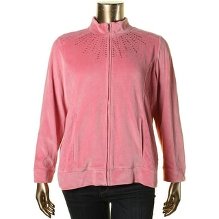 Alfred Dunner Womens Plus Velour Quilted Jacket - 18