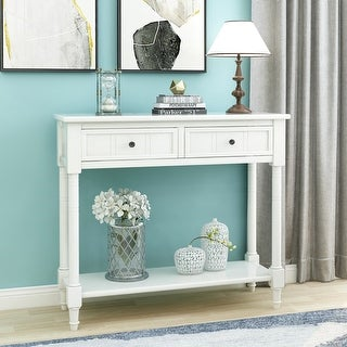 Traditional White Console Table with Two Drawers and Bottom Shelf