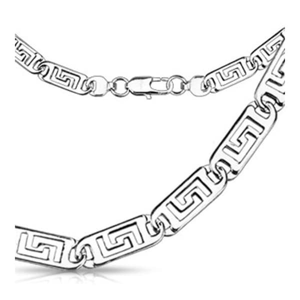 Stainless Steel Flat Hollow Maze Engraved Link Necklace (5 mm) - 24 in