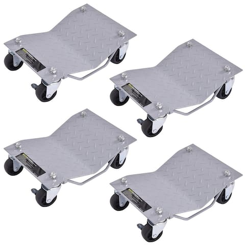 "4 X 3"" Set Tire Wheel Dollies Dolly Vehicle Car Auto Repair Moving Diamond Gray"