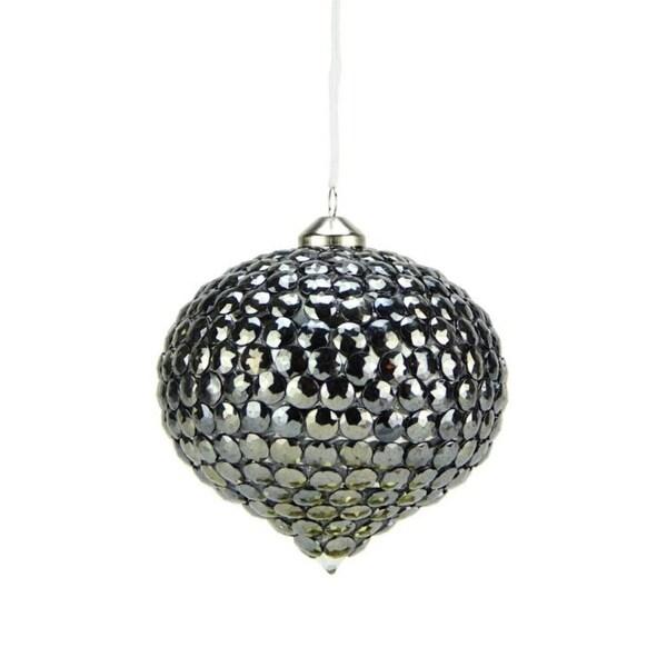 "4.75"" Winter Light Elegant Gun Metal Gray Rivet Gem Glass Onion Christmas Ornament"