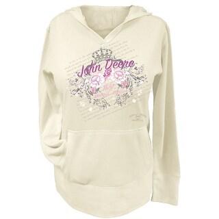 John Deere Western Sweatshirt Womens Floral With Crown Ivory 23545214