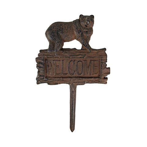 Antiqued Finish Black Bear Welcome Yard Stake - 11.75 X 7 X 1 inches