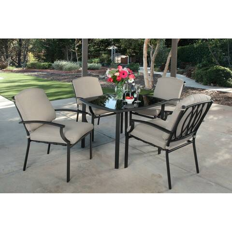 """Courtyard 5pc Fully Cushioned """"Snap-on Back"""" Dining Set"""