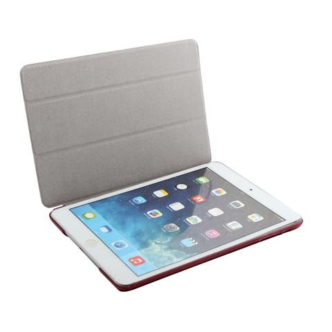 Red Plastic Back PU Leather Protect Shell Case Cover for iPad Mini 1/2/3