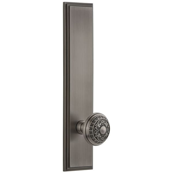 """Grandeur CARWIN_TP_PRV_234_RH Carre Solid Brass Rose Right Handed Tall Plate Privacy Door Knob Set with Windsor Knob and 2-3/4"""""""