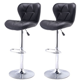 Costway Set of 2 Adjustable PU Leather Bar Stool Swivel Pub Chair