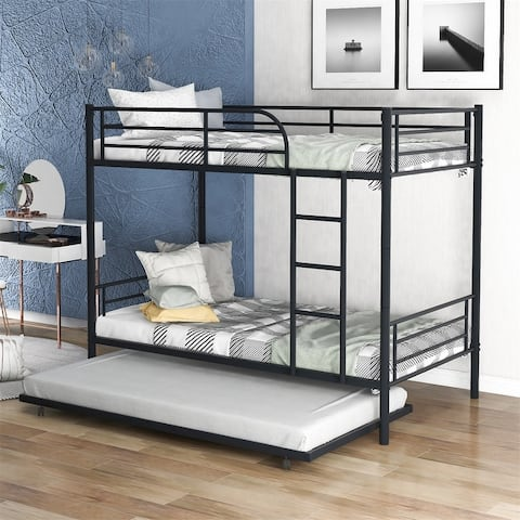 Merax Twin over Twin Metal Bunk Bed with Trundle