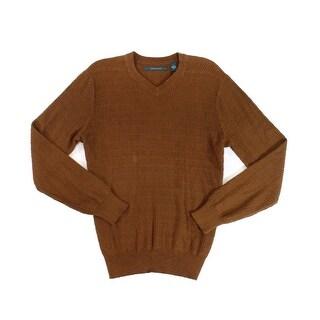 Perry Ellis NEW Bright Chestnut Brown Mens Size Medium M V-Neck Sweater