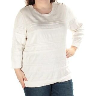 KAREN SCOTT Womens New 1533 White Long Sleeve Jewel Neck Sweater 3X Plus B+B