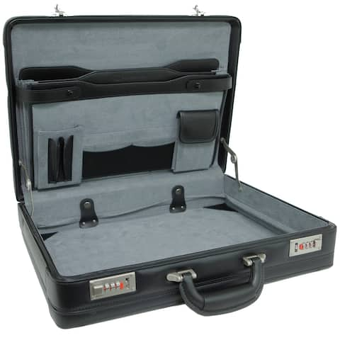 Alpine Swiss Expandable Leather Attache Briefcase Dual Combination Locks - Black - One Size