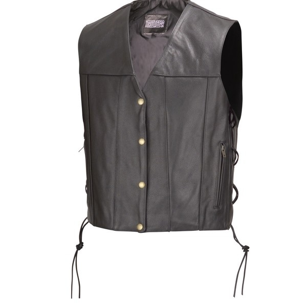 Men Motorcycle Leather Vest Concealed Carry Gun Pocket Black by Xtreemgear MBV112