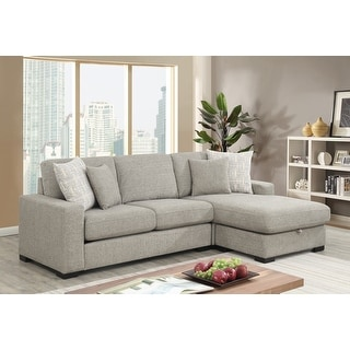 Link to Porch & Den Gloria Grey Reversible Sectional with Hidden Storage Similar Items in Living Room Furniture