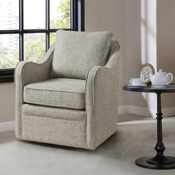 Madison Park Betty Slub Weave Wide Seat Swivel Arm Chair. Opens flyout.