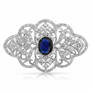 Bling Jewelry Oval Imitation Sapphire CZ Style Flower Pin Rhodium Plated