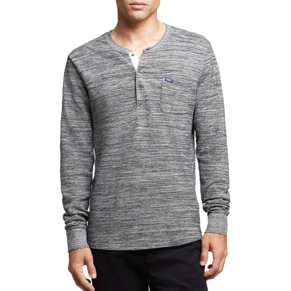 Scotch and Soda Retro De Luxe Long Sleeve Henley Shirt Grey Large L
