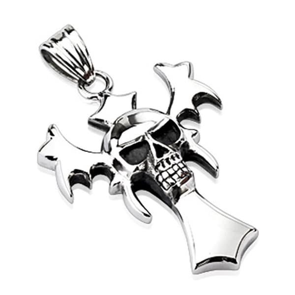 Stainless Steel Skull and Vampire Cross Combination Pendant (34 mm Width)