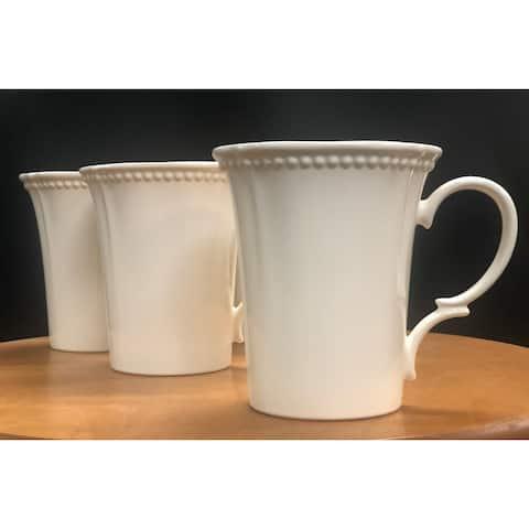 Red Vanilla Pinpoint White Mug 14oz Set/4