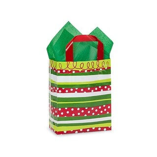 "Pack Of 25, Cub 8 X 4 X 10"" Christmas Celebration Stripe 3 Mil Hdpe Plastic Shopping Bags W/6 Mil Soft Loop Handle"