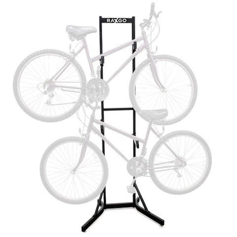 RaxGo Bike Storage Rack, 2 Bicycle Garage Stand, Adjustable, Freestanding, Adjustable Hooks Universal for Indoor Use