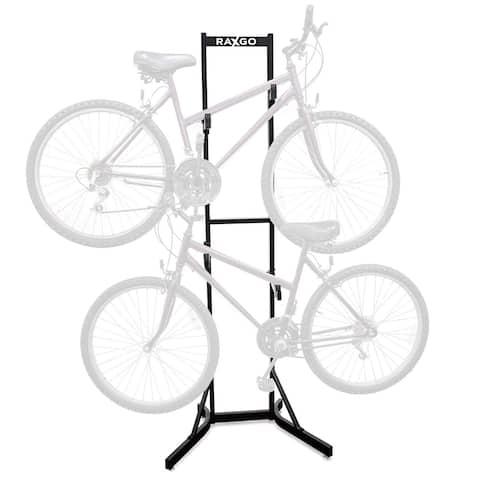 RaxGo Bike Storage Rack, 2 Bicycle Garage Stand, Adjustable, Freestanding, Adjustable Hooks Universal for Indoor Use - Black