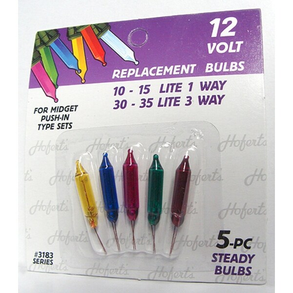 Pack of 5 Multi-Color Push-In Mini Replacement Christmas Light Bulbs - 12 Volt