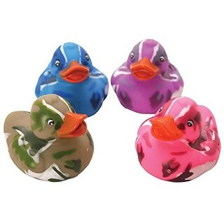 Lot Of 12 Assorted Color Camouflage Rubber Ducks Duckies