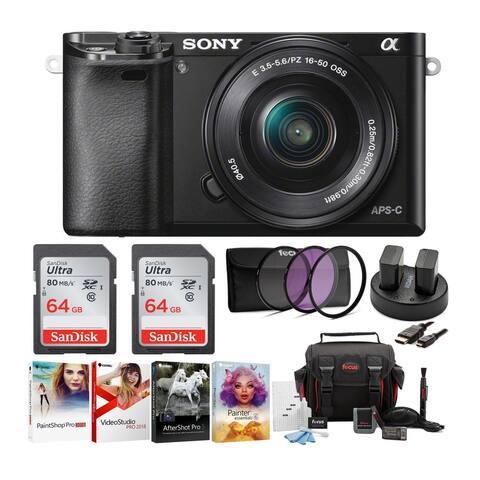 Sony Alpha a6000 Mirrorless Camera (Black) w/ 16-50mm Lens Bundle
