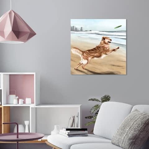 Oliver Gal 'Golden Retriever' Wall Art Canvas Print - Brown, Blue