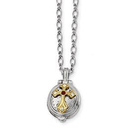 14k Gold IP & Silvertone Red Austrian Crystal Elements & Clear Glass Cross Pendant Necklace - 20in