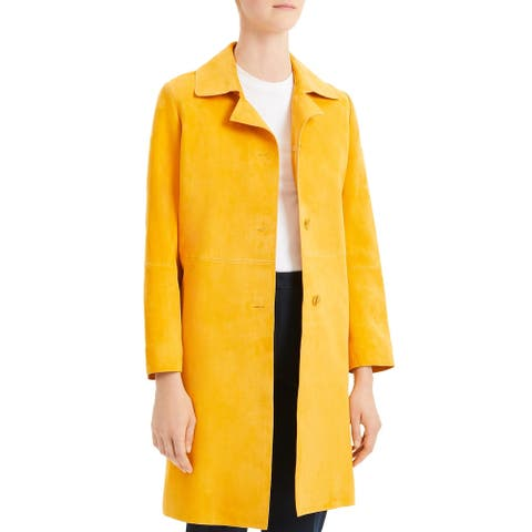 Theory Womens Piazza Coat Suede Long - Zest - M