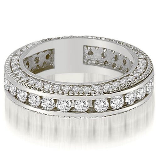 2.00 cttw. 14K White Gold Round Channel and Prong Diamond Eternity Ring