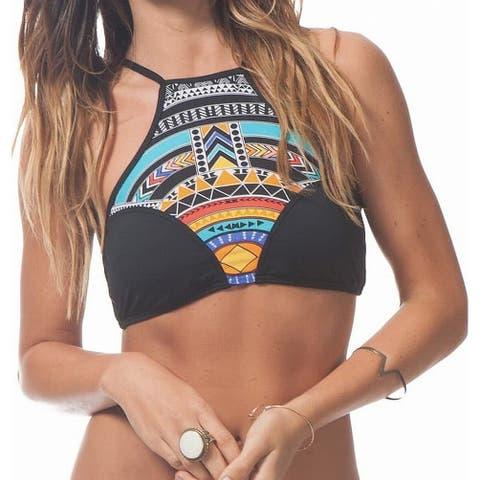Rip Curl Womens Swimwear Black Size XL High-Neck Printed Bikini Top