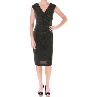 Lauren Ralph Lauren Womens Metallic Surplice Cocktail Dress