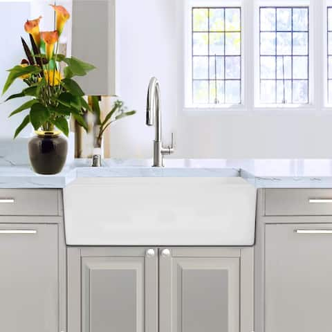 """Highpoint Collection White 30-inch Solid Surface Reversible Farmhouse Sink - 30"""" x 18"""" x 10"""