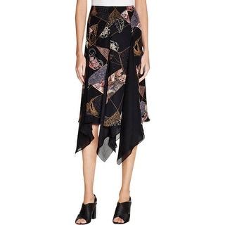 Elizabeth and James Womens Reza A-Line Skirt Silk Printed