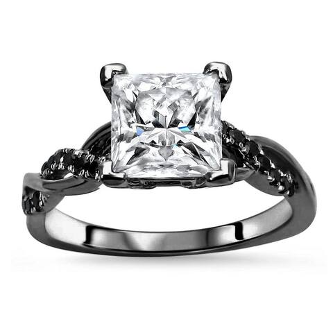 14k Black Gold Plating Over White Gold 1.50ct Princess cut Moissanite & 1/5ct Black Diamond Engagement Ring