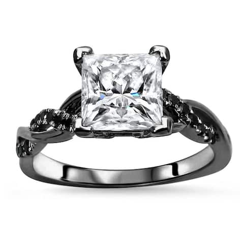 14k Black Gold Plating Over White Gold 2.0ct Princess cut Moissanite & 1/5ct Black Diamond Engagement Ring