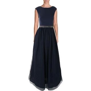 Aidan Mattox Womens Mesh Jeweled Evening Dress