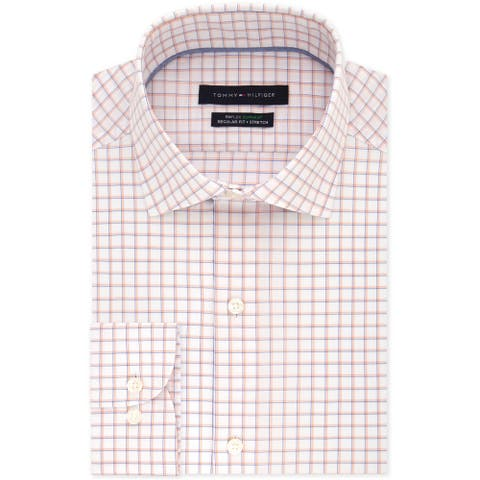 "Tommy Hilfiger Mens Stretch Button Up Dress Shirt, Orange, 16.5"" Neck 32""-33"" Sleeve"