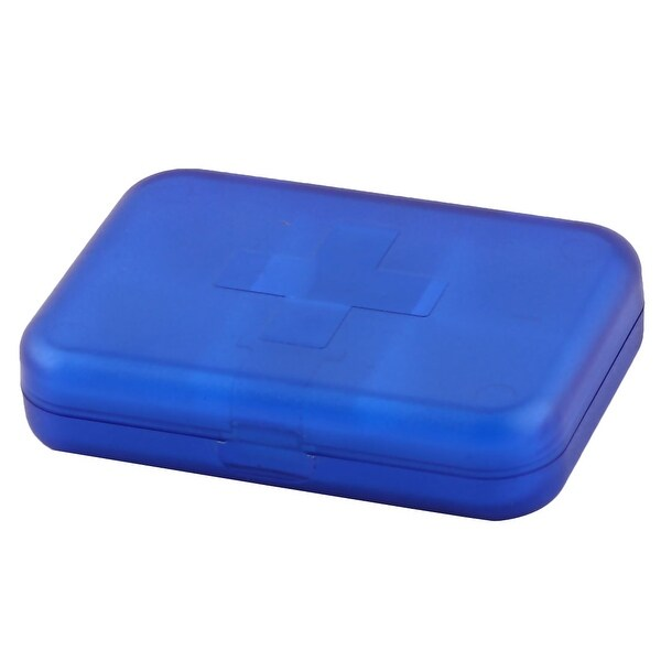 Travel Plastic Square Shaped 6 Compartments Medicinal Pills Box Case Holder Blue