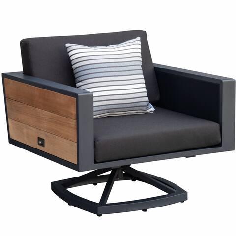 HIGOLD - 2017 York Swivel Aluminum Single Sofa with Double Side Panels Cushion Pillow, Teak Wood, Matte Charcoal Powder Coating