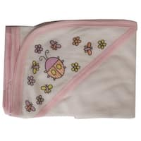 Hooded Towel with Pink Binding and Screen Prints - Size - One Size - Girl