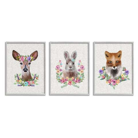 Stupell Industries Adorable Forest Creatures Floral Wreath Details Framed Wall Art