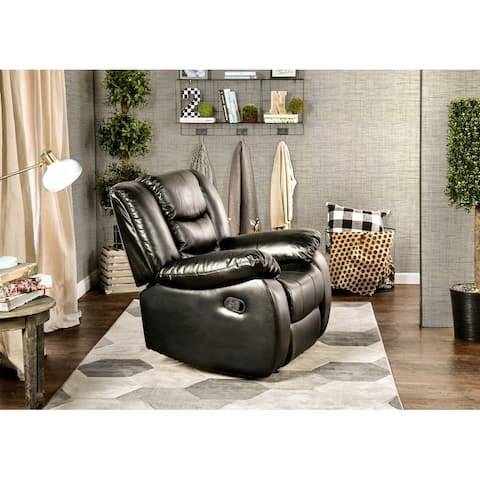 Furniture of America Hopp Transitional Faux Leather Plush Recliner